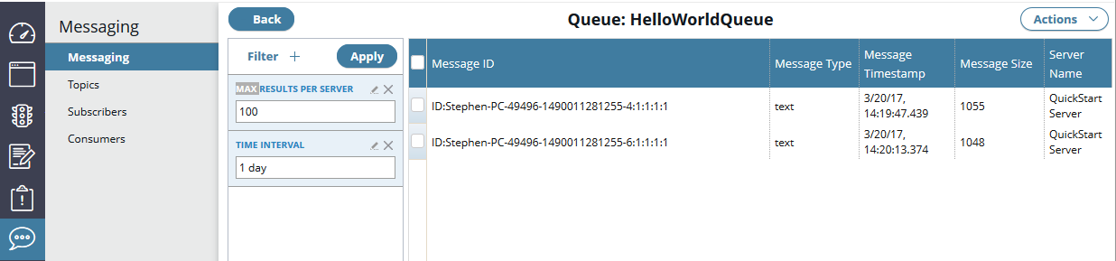 Manage messages in a queues