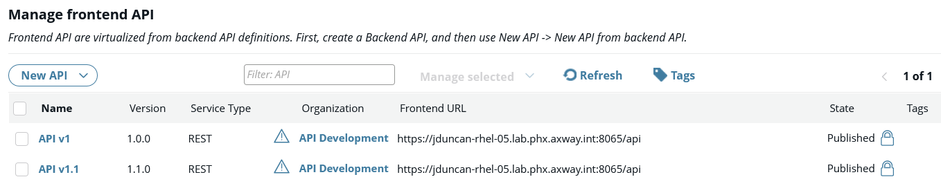 Both old and new APIs published in API Manager