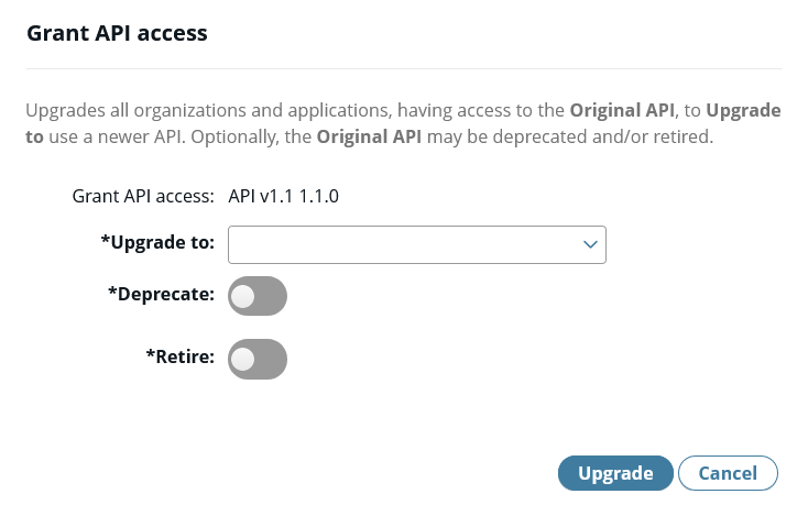 Grant API access screen in API Manager