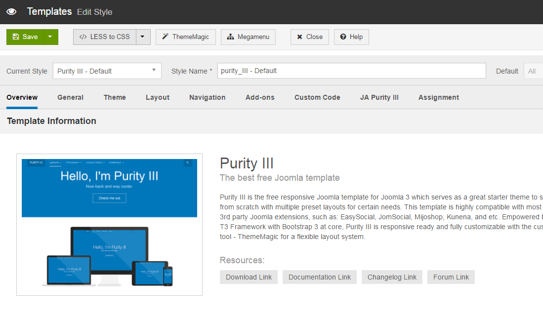 Joomla Purity III styles template manager to compile changes to API Portal css