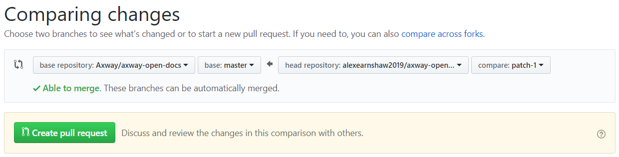 Compare changes and create pull request